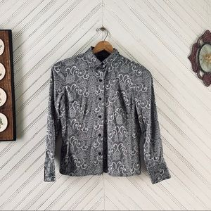 Silky Lace Print Blouse